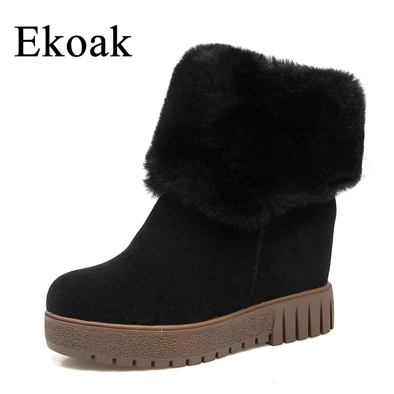 Ekoak New 2018 Fashion Women Boots Winter Warm Plush Ankle Boots Wedges Heels Snow Boots Platform Rubber Boots Shoes Woman ekoak new 2017 winter boots fashion women boots warm plush mid calf boots ladies platform shoes woman rubber leather snow boots