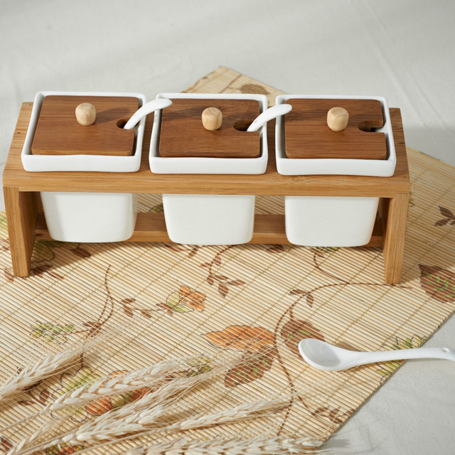 Alat Dapur 3 Pcset Penyimpanan Bumbu Kaleng Rak Bambu Guci Keramik