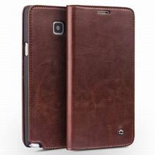 Натуральная Кожа Флип Чехол для Samsung Galaxy Примечание 4 N9100 Кошелек Стиль Телефон Защитный Кожаный Чехол Карты Слоты