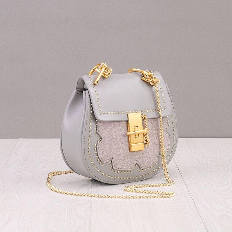 2018 Saddle Split Leather Bags Handbags Women Famous Brands Rivet Suede Flower Chains Shoulder Bags Hasp Flap Crossbody Bags