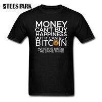 Hommes T-shirts Drôles de L'argent ne Peut pas Acheter Le Bonheur, Mais Il peut Acheter Bitcoin T-shirts CryptoCurrency T Adultes Shirts Court T-Shirts