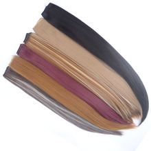 1 Pieces jeedou 5Clips Synthetic Clip in Hair Extensions One Piece Straight 24″ 60cm 120g Black Brown Color Women's Hairpieces