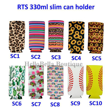 100Pcs Personalized Neoprene Can Cooler for 330ml Cheetah Slim Can Holder Sunflower Baseball Pattern Beer Soda Water Can Cover