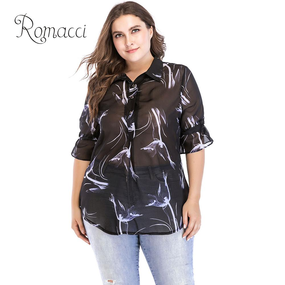 a5638079278 Romacci Sexy Women Plus Size Chiffon Blouse Buttons Turn down Collar Flared  Sleeve Summer Clothes Semi Sheer Oversized Shirt Top-in Blouses   Shirts  from ...