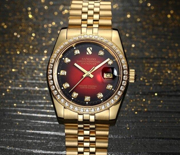 37mm SANGDO automatyczne self wiatr ruch wysokiej jakości luksusowe zegarek męski poszycia 18KY zegarki mechaniczne sa11 w Zegarki mechaniczne od Zegarki na  Grupa 1