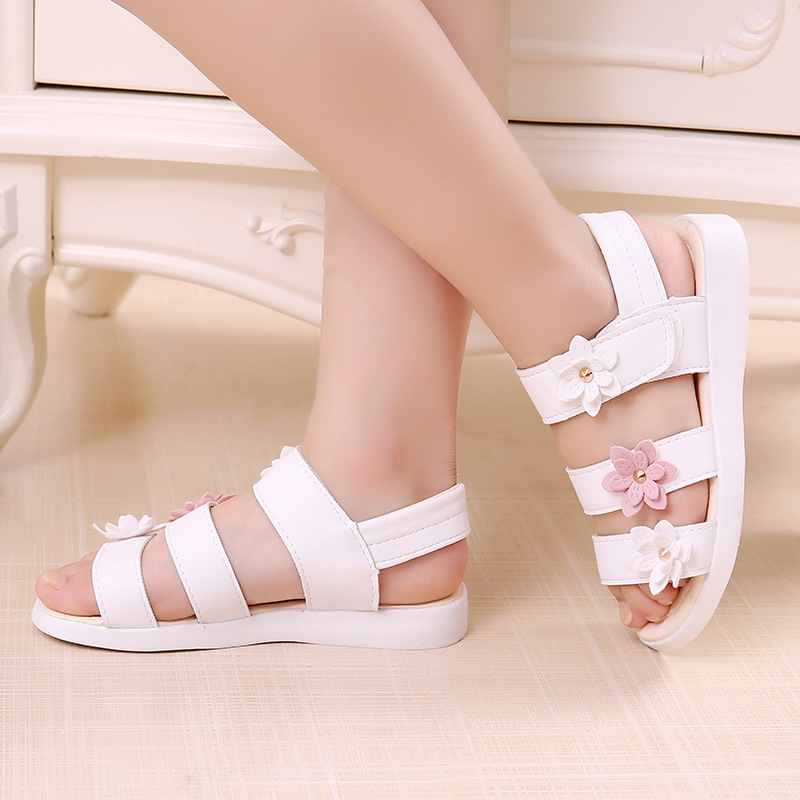 Beautiful Flower Girl Summer Sandals Kids Soft Flat  Princess Children'S Beach Shoes For Little Girl 3 4 5 6 7 8 9 10 11 12 Year