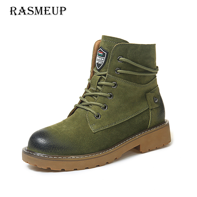 RASMEUP Genuine Suede Leather Women's Martin Boots 2018 Spring Wipe Women Ankle Boots Casual Woman Lace Up Shoes Feminina