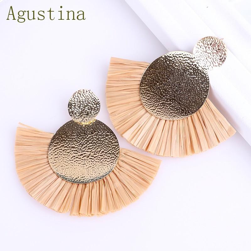 BOSI Rattan Earrings For Women Tassel Colorful Earings Fringe Bohemian Fashion Big Dangle Boho Drop African earring Face Trendy