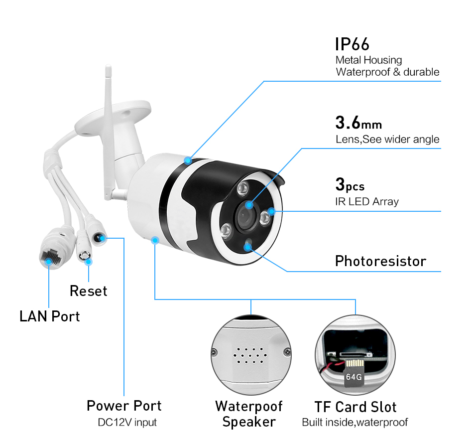 WOFEA wifi outdoor ip-kamera 1080P 720P wasserdichte 2.0MP wireless security kamera metall zwei weg audio TF karte rekord P2P bulle