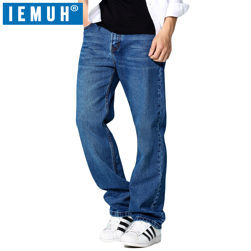 IEMUH Brand 100% Cotton Spring Men   Jeans   Slight Classic Denim Pants Male Washed Gray Designer Causal   Jeans   Man Plus Size 30-42