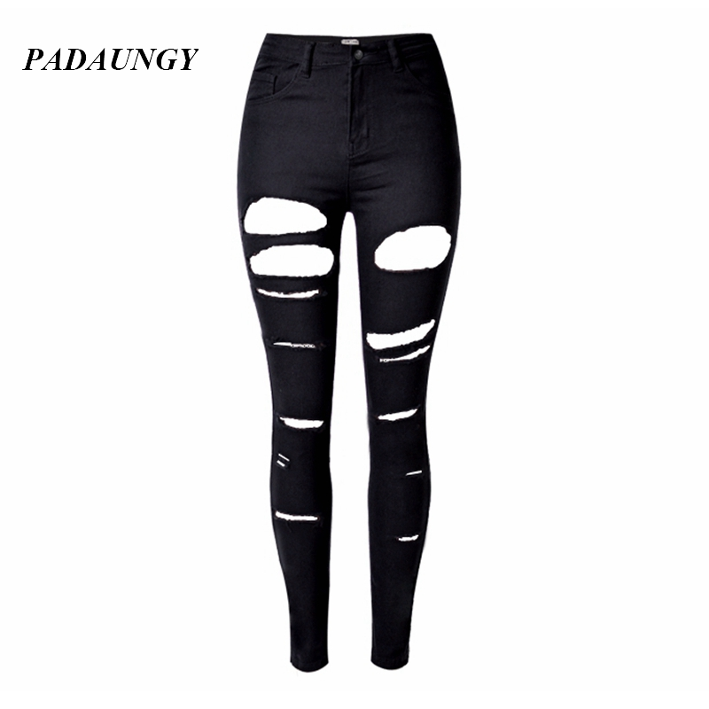 PADAUNGY Black High Waist Torn Jeans Ripped Jegging Women Hole Trousers Skinny Slim Denim Pants Plus Size Pencil Pantalon Femme