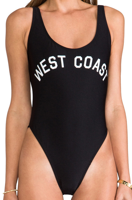 b45797f9a7e Custom TEXT Women High-Cut Bodysuit Beach Swimwear WEST COAST Letters Print One  Piece Swimsuit Female Backless Bathing Suits