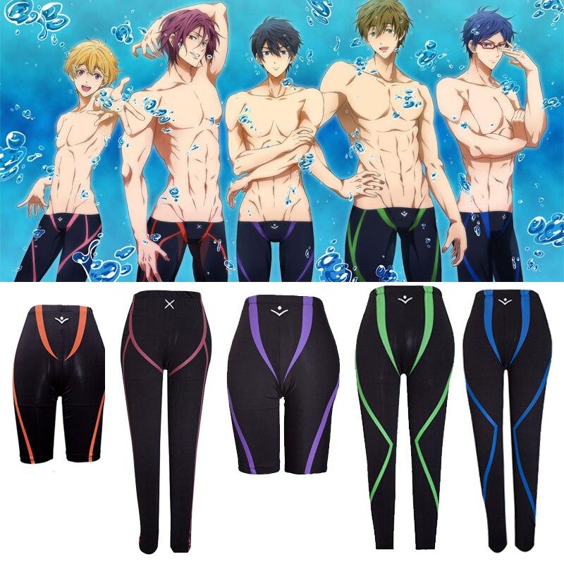 Hot Anime Free! Iwatobi Swim Club Swimming Trunks Shorts Cosplay Costume Nagisa Hazuki Makoto Tachibana Rin Matsuoka Swim Pants