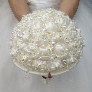 Image 2 - WifeLai A New Ivory Cream Pearls Brooch Wedding Bouquets buque de noiva Bridal Wedding Bouquets Festival Flowers W3018 17