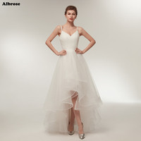 In Stock High Low Ivory Wedding Dress Cheap Simple White Wedding Dresses Long Chic Sexy Bridal