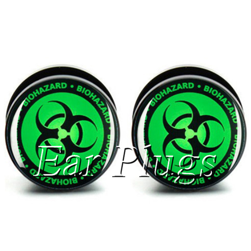 Wholesale 10 sizes 60 pcs Green Biohazard acrylic ear plug gauges screw flesh tunnel body jewelry A0027