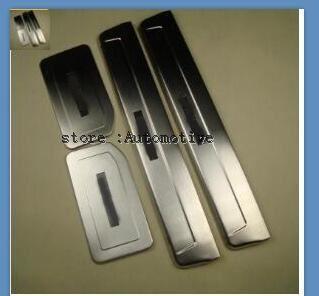 LED de aço Inoxidável do Peitoril Da Porta Scuff painel Placa de pontapé limiar protetor passo Para Mitsubishi Pajero V73 V77 V93 V97 2006-2012