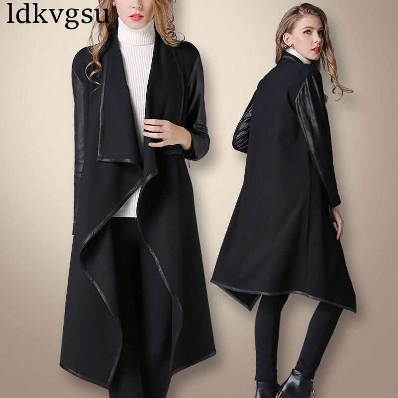 European Fashion 2019 Women Korean Black loose thin irregular Spring Autumn Long   Trench   Coats Black V277