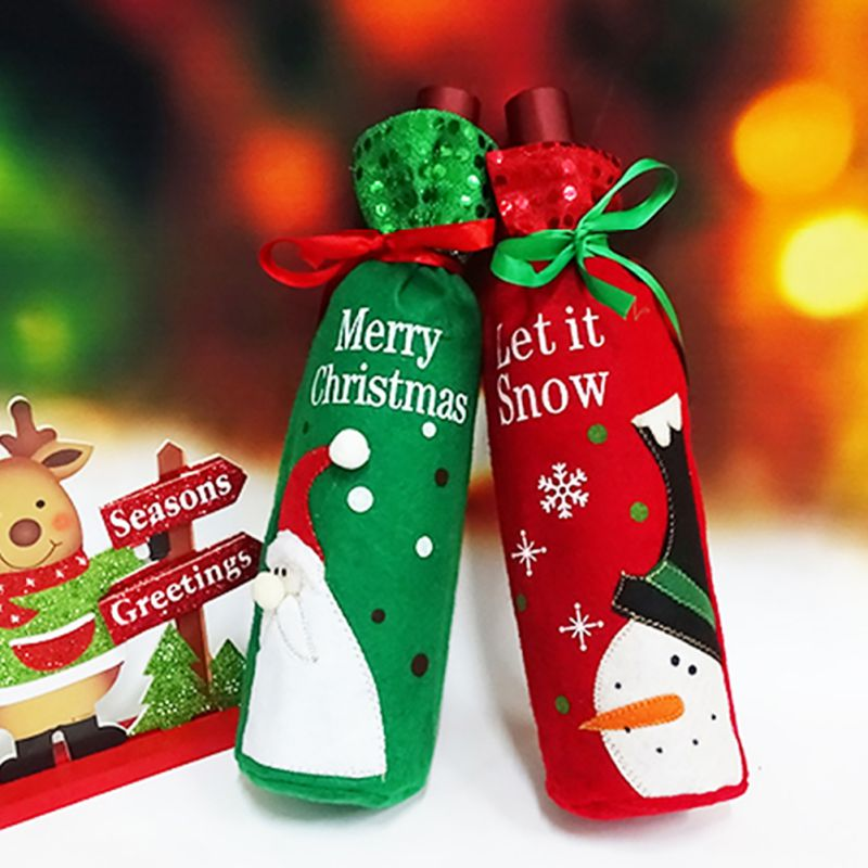 Christmas Decoration Red Wine Bottle Cover Bags Christmas Dinner Table Decoration Home Party Decors Santa Claus 32x12.5cm