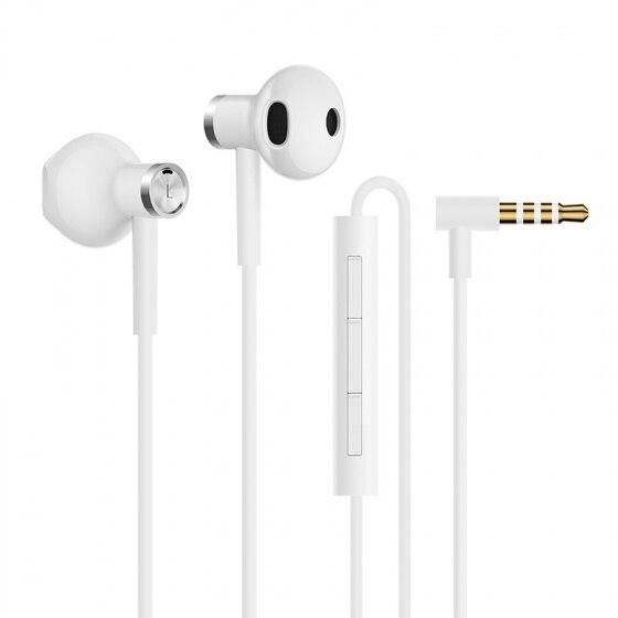 2018 New Xiaomi Mi Dual Driver Earphones MEM Mic Tenacity Wire Control Half-In-Ear L-Shape Plug Earphone DC Dynamic