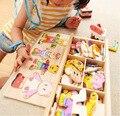 Poco cambio oso ropa de los niños de educación temprana de madera rompecabezas juego de vestir bebé juguetes rompecabezas de madera envío gratis