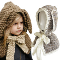 2016 Cute Hat Beanie Hooded Neck Shawls Baby Kids Winter Warmer Knit Woolen Crochet Bowknot Cape