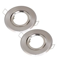 MR16 Polished Chrome Fitting Fixture Lamp Holders Ceiling Spot Downlights Silver Pack Of 2