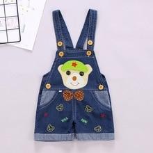 DIIMUU Infant Toddler Clothing Boys Girls Overalls Shorts Denim Pants Casual Cartoon Jumpsuits Cute Suspender Pants Kids Clothes недорого