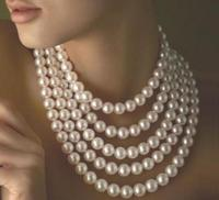 Hot sell long 100 inch 9 10mm white akoya pearl necklace choker