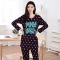 Nueva Primavera Otoño Invierno 100% Algodón Pijamas de Las Mujeres Fijó Lunares Sleepcoat Pantalones Señora Suave ropa de Dormir de Mujer Ropa Casual En El Hogar