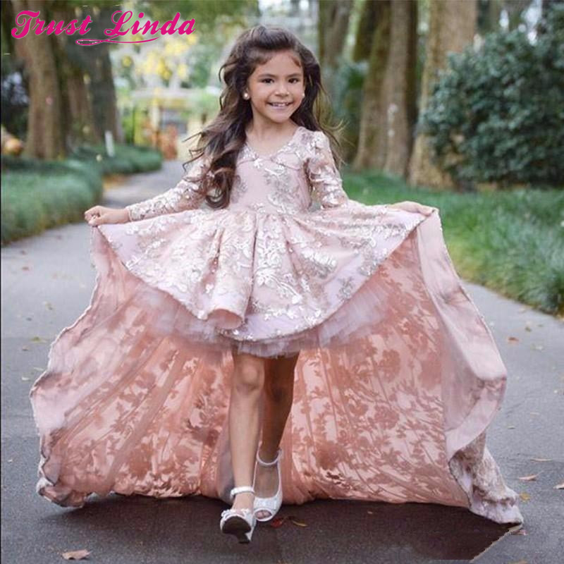 Real Photo Flower Girl Dresses Charming Full Sleeves Front Short Long Back Lace Girls Party Dress Kids Beauty Pageant Dresses