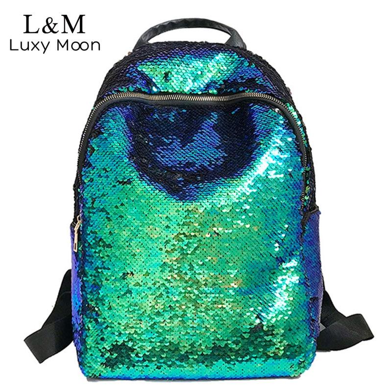 все цены на Glitter Bling Sequins Backpack Women Large Capacity Mochila Feminina 2018 Leather Backpack For Girls Travel School Bags XA113H онлайн