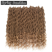SPRING SUNSHINE 6packs Faux Locs Curly Crochet Braids 18inches 24strands 70g Crochet Hair Extensions Wavy Faux