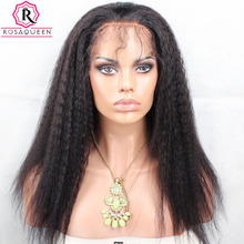 180% Density Full Lace Wig With Baby Hair Kinky Straight Black Brazilian Pre Plucked Human Hair Wigs For Women Rosa Queen Remy