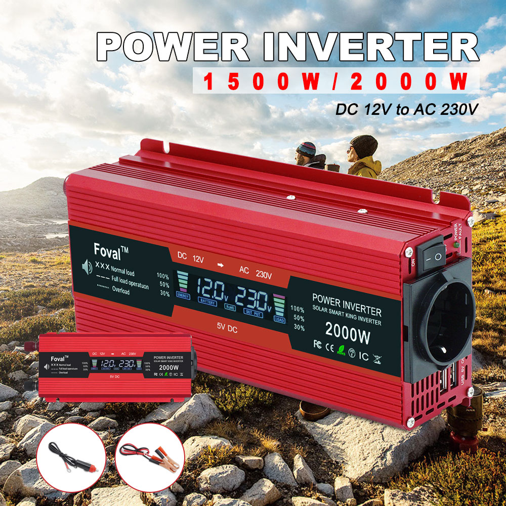 1500 W/2000 W/2600 W power inverter LCD display EU buchse DC <font><b>12V</b></font> zu AC <font><b>230V</b></font> Modifizierte Sinus Welle Adapter dual 3.1A USB auto inverter image