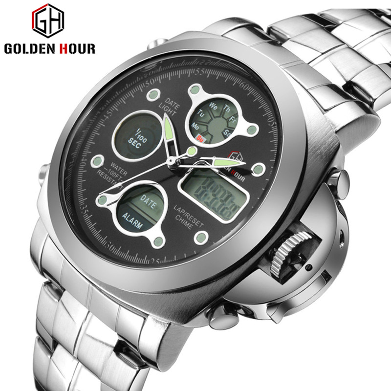 Luxury brand men's sports watch dual display LED digital waterproof all steel with quartz men's military watches fashion design dual display sports watch digital quartz watch for boys and girls popart 817ad green