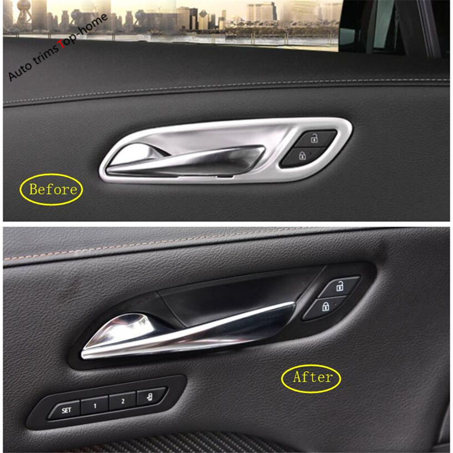 Yimaautotrims Inner Door Pull Handle Bowl Frame Cover Trim Matte Carbon Fiber ABS Fit For Cadillac XT4 2019 Interior Mouldings in Interior Mouldings from Automobiles Motorcycles