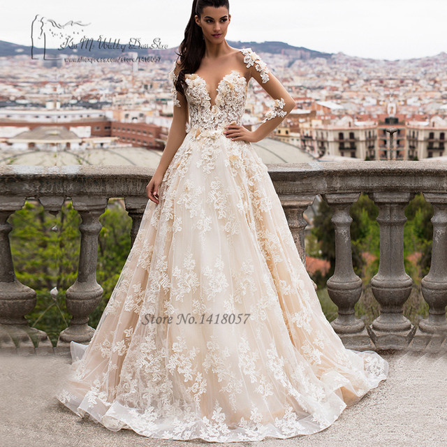 f434a1a89664 Greek Champagne Lace Wedding Dresses Turkey Long Sleeve Arab Wedding Gowns  Vestido de Noiva Manga Sexy