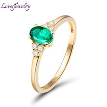 Incroyable Solide 18kt Or Jaune Diamant Naturel Ovale Émeraude Bague de Fiançailles Pierres Véritables pour les Femmes D'anniversaire Fine Jewelry