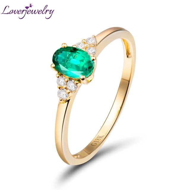 Erstaunliche Festen 18kt Gelbgold Naturlicher Diamant Oval Smaragd