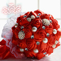 In Stock 2016 Luxury Bridal Wedding Bouquet With Beaded Brooch And Silk Roses,Romantic Wedding Colorful Bride 's Bouquet D187