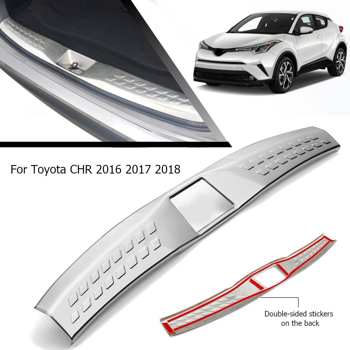 Rear Trunk Pad for Fender Stainless Steel Car Accessories For Toyota C-HR CHR 2016 2017 2018 Rear Bumper Foot Plate