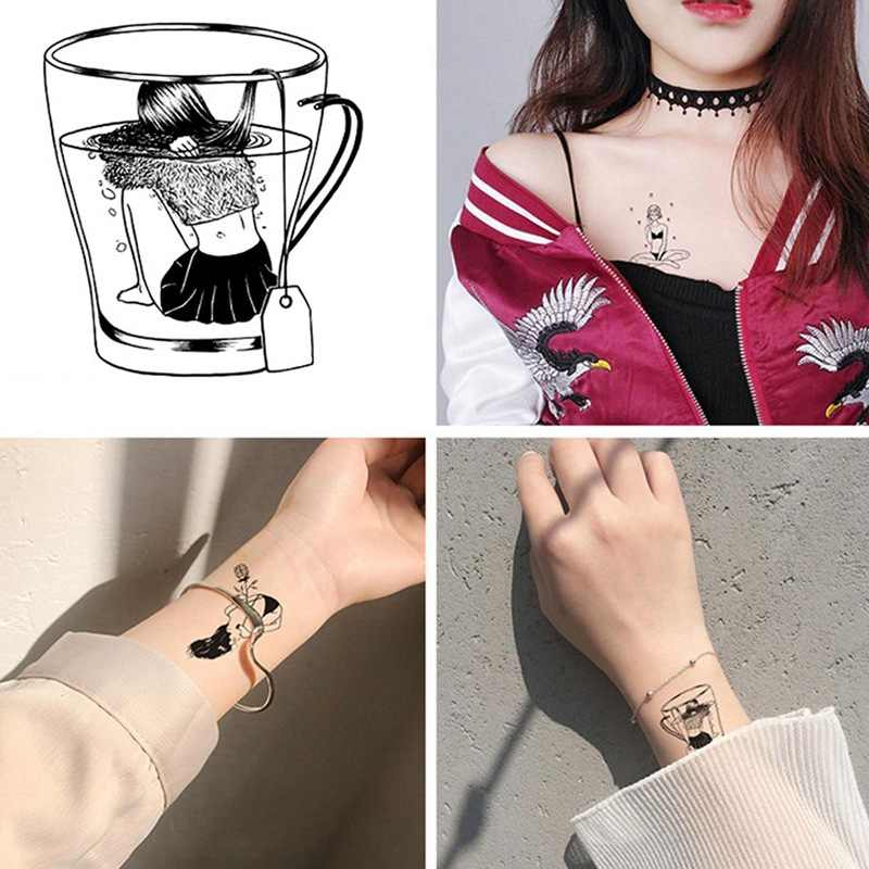 2Pcs/Set Sexy Tattoo Mask Veil Woman Taty Old School Fake Tattoo Body Art Temporary Tattoo Sticker For Female Tatuajes Tatuagem
