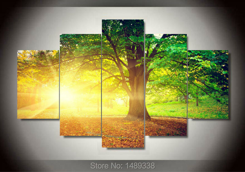 Framed art Trees among Yellow Sun and Green Large HD Top rated ...