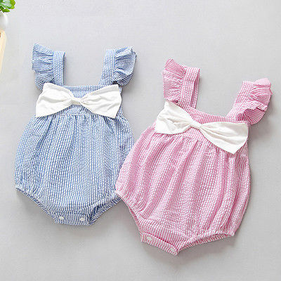 Cute Newborn Baby Girl Clothes Little Princess Striped Bow Romper Sunsuit Infant Bebes Jumpsuit Children Clothes puseky 2017 infant romper baby boys girls jumpsuit newborn bebe clothing hooded toddler baby clothes cute panda romper costumes