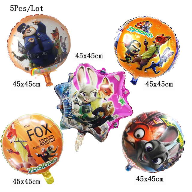 Inflatable Foil Helium Zootopia Party Balloons Decoration Supplies Cartoon Animal Children Kids Baby Birthday