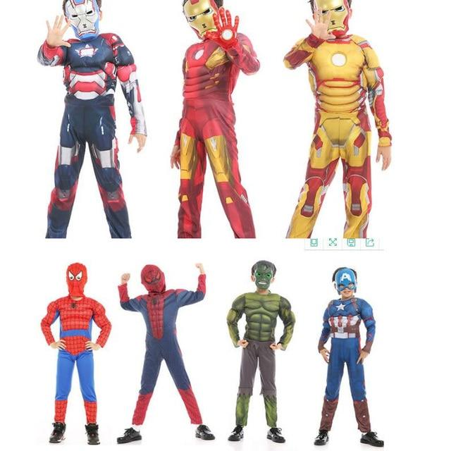 b1a949b465 Criança Trajes de Halloween cosplay Spiderman Ironman Capitão América  Avengers Hulk Muscle máscaras Carnaval Cosplay Traje dos miúdos