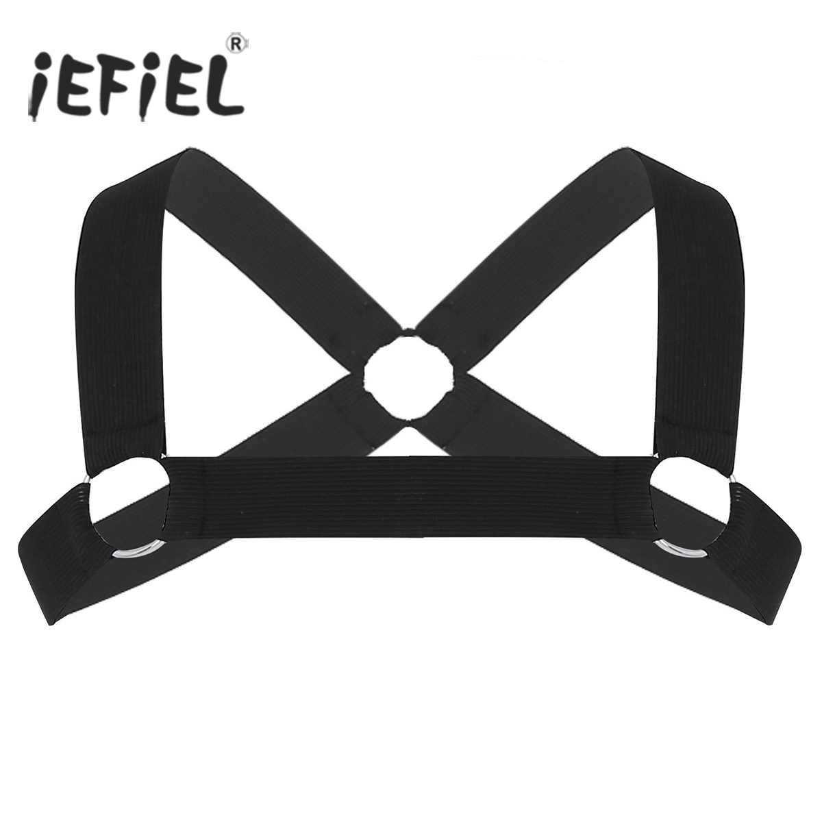 Mens X-Shape Back Harness Male Elastic Shoulder Chest Muscle Show Harness Belt with O-rings Fancy Clubwear Party Costumes Strap