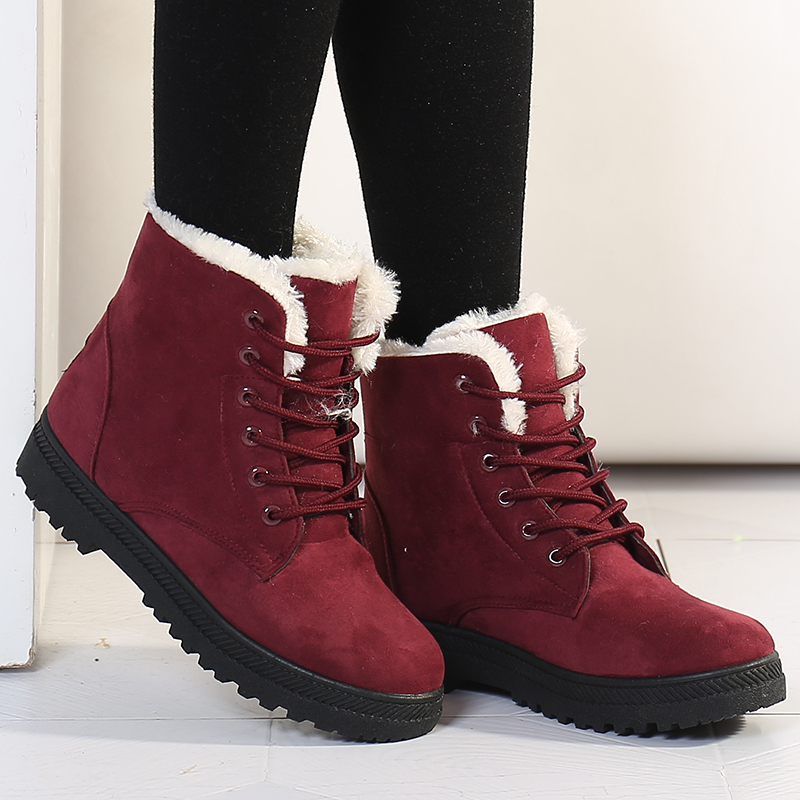 Women Boots Warm Snow Boots 2019 Heels Winter Boots Female Fur Plush Insole Ankle Boots For Women Shoes Winter Warm Botas Mujer