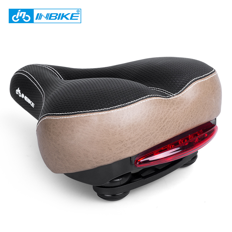 INBIKE Bicycle Saddle with Tail Light Widen MTB Saddle Cushion Road Bike Seat Shock Resistant Bike Parts AN040